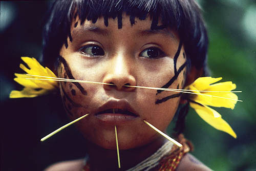 Brazil. Amazon rain forest. Yanomami indian girl.